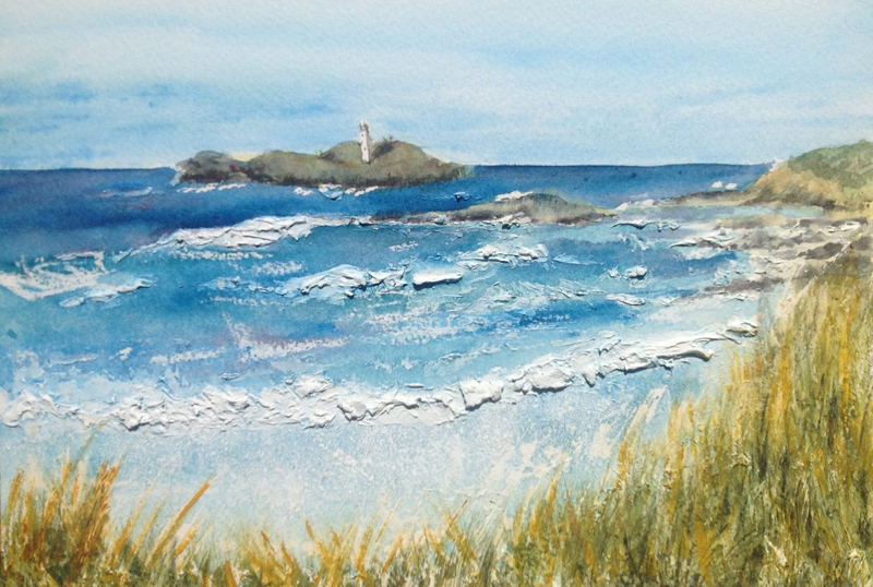 Godrevy and lighthouse with texture