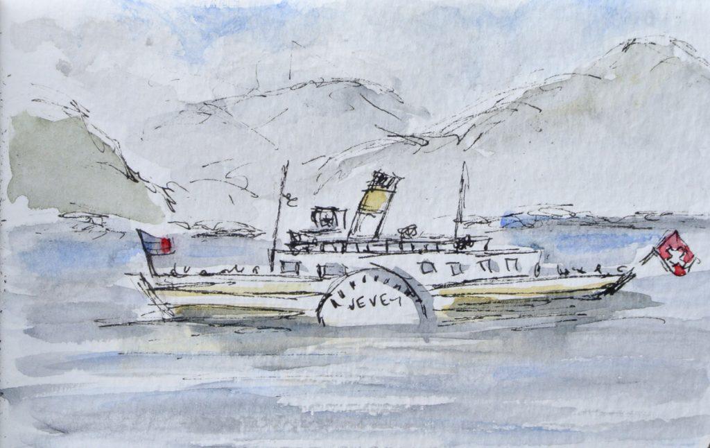 Paddle steamer on Lake Geneva