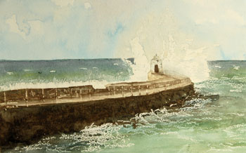 Waves crashing on the Pier and Monkey Hut